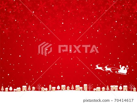 聖誕節城市景觀背景聖誕老人和馴鹿雪橇剪影紅色 70414617