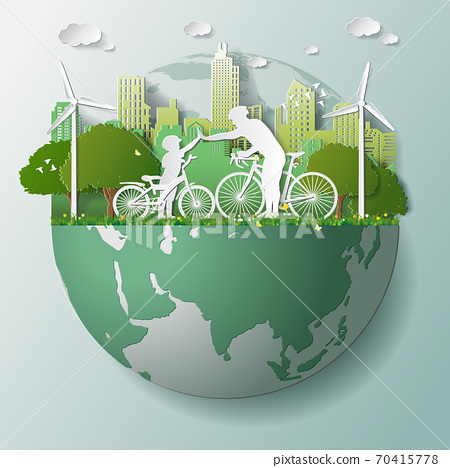 Green renewable energy ecology technology power saving environmentally friendly concepts, father and join hands cycling in parks near city on globe 70415778