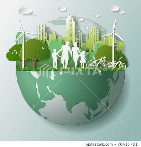 Green renewable energy ecology technology power saving environmentally friendly concepts, family parent boy girl are walking in city parks on globe 70415781