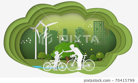 Green renewable energy ecology technology power saving environmentally friendly concepts dimension thinking 70415799