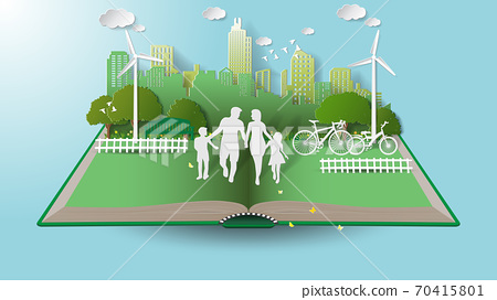 Green renewable energy ecology technology power saving environmentally friendly concepts, family parent boy girl are walking in city parks on book. 70415801