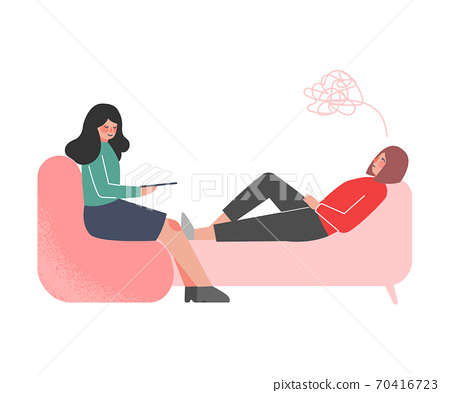 Professional Psychotherapy Counselling Stressed Male Patient Lying on Couch, Psychological Help, Mental Health Cartoon Style Vector Illustration 70416723