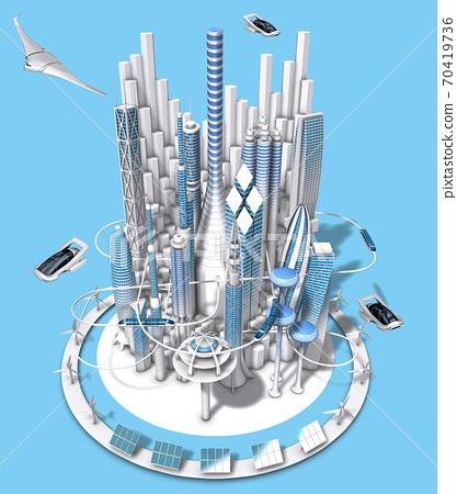 부감에서 본 파란색과 흰색 미래 도시의 3dcg 70419736