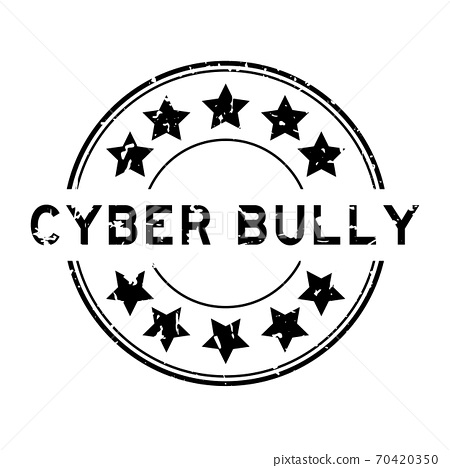 Grunge black cyber bully word with star icon round rubber seal stamp on white background 70420350