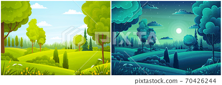 Day and night landscape with hills, forest, fir-trees, view at scenery with clear sky, summer fields 70426244