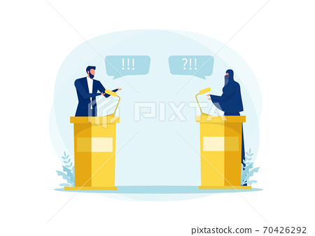 muslim woman Speak Politician Debate ,Conference or Interview about wear her hijab with man politics concept illustrator 70426292