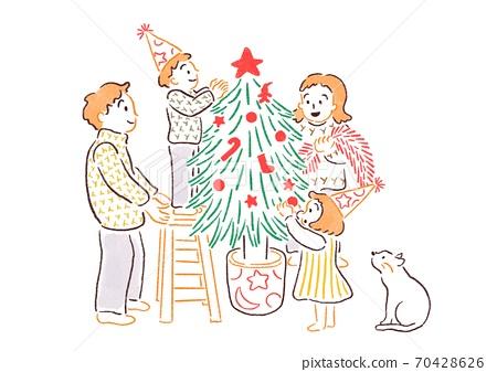 家庭慶祝聖誕節 70428626