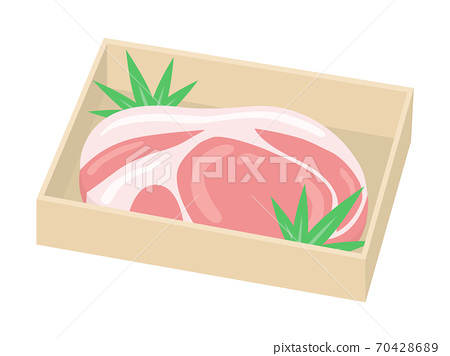 豬肉在木盒子裡的插圖 70428689