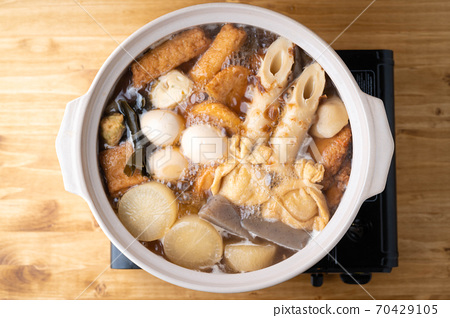 Oden, japanese traditional hot pot with fish dumplings 70429105