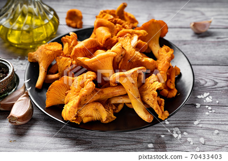 Close up of a plate with fresh raw chanterelles on gray rustic background 70433403