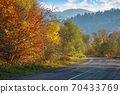 old asphalt road in mountains. beautiful autumn scenery on a sunny day. trees in colorful foliage. countryside journey on a weekend concept 70433769