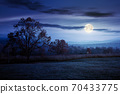 gorgeous countryside at dawn in autumn at night. trees in colorful foliage on the grassy field in full moon light. mountains in the distance 70433775