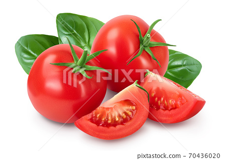 Tomato with slices and basil leaf isolated on white background with clipping path and full depth of field. 70436020