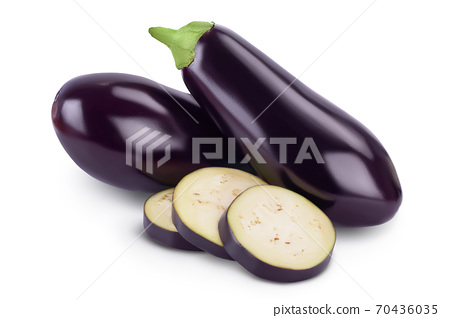 Eggplant or aubergine isolated on white background with clipping path and full depth of field 70436035