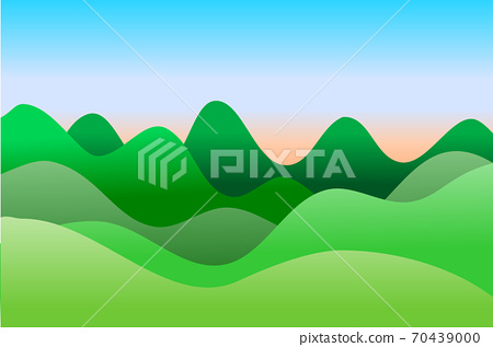 Mountain and sky at sunrise. In the style of simple decorative pictures 70439000