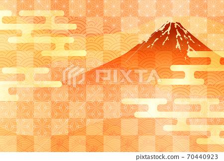 Mt. Fuji autumn watercolor background 70440923