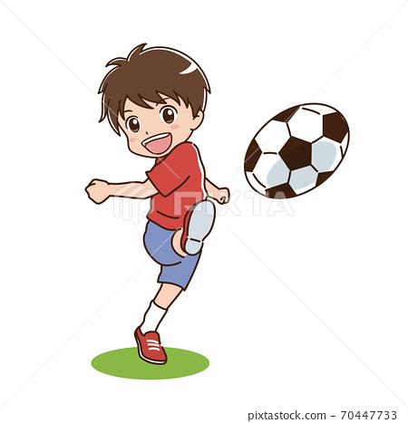 一個踢足球的男孩的插圖 70447733