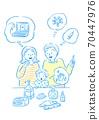 코로나 대책을 논의 가족 70447976