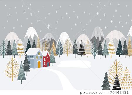森林和房屋灰色的側身插圖 70448451