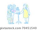 음식점에서 소독하는 여성 고객 70451540