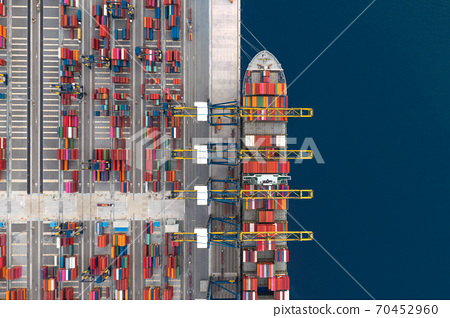 Container cargo ship loading at port 70452960