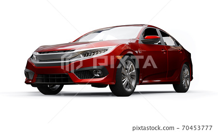Red mid-size urban family sedan on a white uniform background. 3d rendering. 70453777