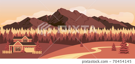 Sunset in mountains flat color vector illustration 70454145