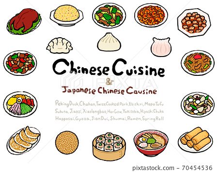 Chinese Cuisine (& Japanese Chinese Cuisine) Set:Hand drawn vector illustration like woodblock print 70454536