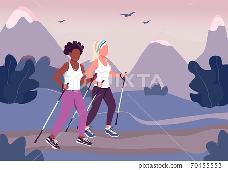 Fitness trend flat color vector illustration 70455553