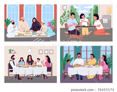 Traditional lunch for family flat color vector illustration set 70455573