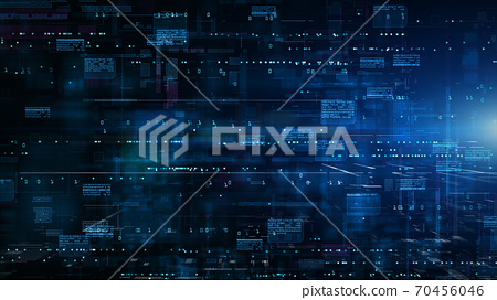 Digital Cyberspace with Particles and Digital Data Network Connections. High Speed Connection and Data Analysis Technology Digital Background Concept. 70456046