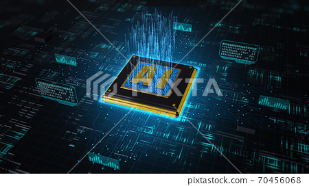 3D render digital of AI Artificial Intelligence over circuit background, High-speed connection data analysis, Future Technology digital background. 70456068