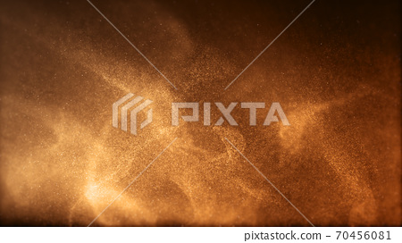 Gold color digital particles wave flow Or diffuse by the wind of the sand. Abstract technology background concept 70456081