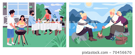 Family holiday flat color vector illustration set 70456670
