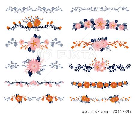 핑크 오렌지 꽃 장식 70457895