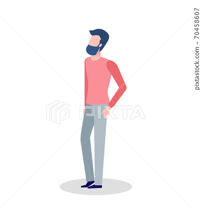 Man in Red Sweater and Trousers Isolated Vector 70458607