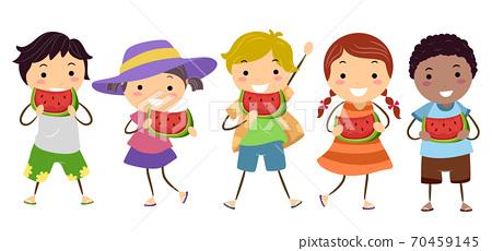 Stickman Kids Eating Watermelon Day Illustration 70459145