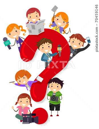 Kids Broadcast Journalism Scoop Illustration 70459146