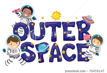 Stickman Kids Astronaut Outer Space Illustration 70459147