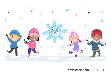 Stickman Kids Winter Season Dancing Snowflake 70459159