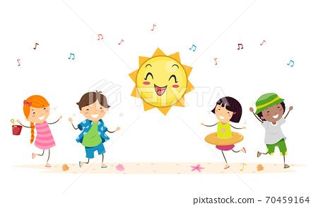 Stickman Kids Summer Season Dance Illustration 70459164