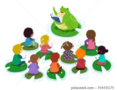 Stickman Kids Pond Class Frog Teacher Illustration 70459175