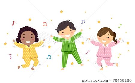 Stickman Kids Pajama Dancing Illustration 70459180