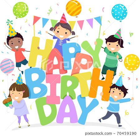 Stickman Kids Happy Birthday Illustration 70459190