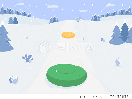 Riding on inflatable ring flat color vector illustration 70459658