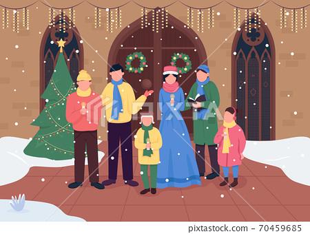Christmas church choir flat color vector illustration 70459685
