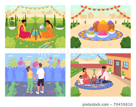 Indian holidays flat color vector illustration set 70459810