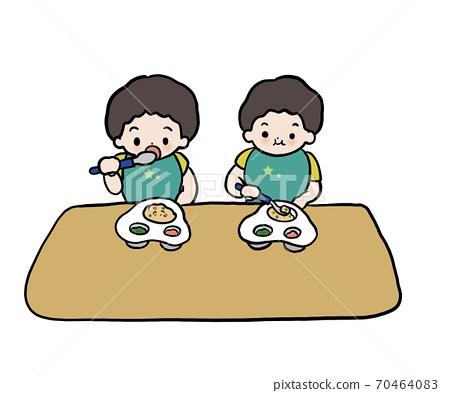 식사, 쌍둥이, 소년 70464083