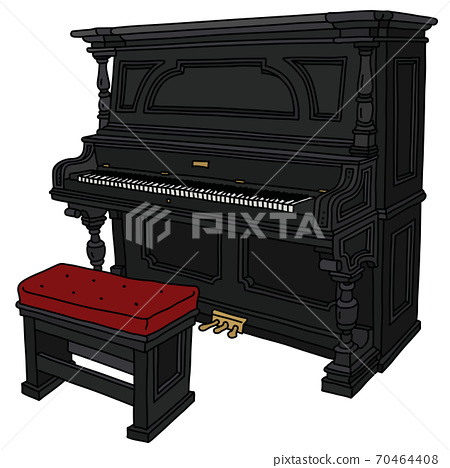 The old black pianino with a chair 70464408
