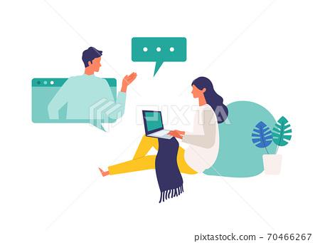 參加視頻會議和在線課程的女人的插圖 70466267